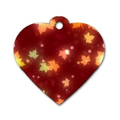 Leaf Leaves Bokeh Background Dog Tag Heart (two Sides)