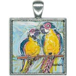 Lovers  by Madzinga Art Square Necklace