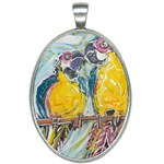 Lovers  by Madzinga Art Oval Necklace