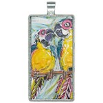 Lovers  by Madzinga Art Rectangle Necklace