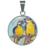 Lovers  by Madzinga Art 25mm Round Necklace
