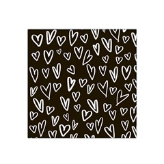 White Hearts   Black Background Satin Bandana Scarf by alllovelyideas