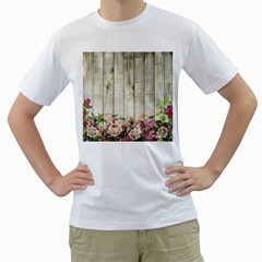 Floral Wood Wall Men s T Shirt (white)