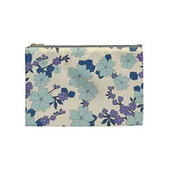 Vintage Floral Blue Pattern Cosmetic Bag (medium) by snowwhitegirl