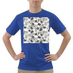 Black And White Floral Pattern Background Dark T Shirt