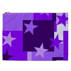 Purple Stars Pattern Shape Cosmetic Bag (xxl)