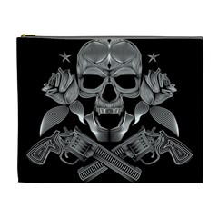 Skull Pirate Gun Roses Cosmetic Bag (xl) by Desi8477