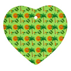 Holiday Tropical Smiley Face Palm Heart Ornament (two Sides)