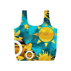 Gold Music Clef Star Dove Harmony Full Print Recycle Bag (s)