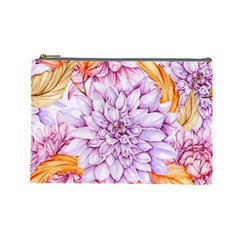 Watercolor Autumn Garden Cosmetic Bag (large) by tarastyle