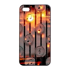 Music Notes Sound Musical Audio Iphone 4/4s Seamless Case (black)