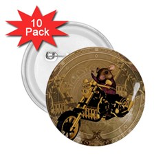 Funny Cute Mouse On A Motorcycle 2 25  Buttons (10 Pack)  by FantasyWorld7