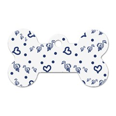 Duck Family Blue Pattern Dog Tag Bone (two Sides)