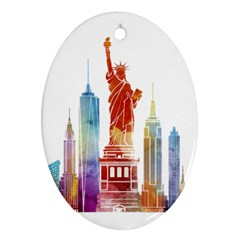 New York City Poster Watercolor Painting Illustrat Oval Ornament (two Sides)