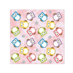 Owl Bird Cute Pattern Background Small Satin Scarf (square)