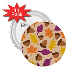 Acorn Leaves Pattern 2 25  Buttons (10 Pack)  by HermanTelo