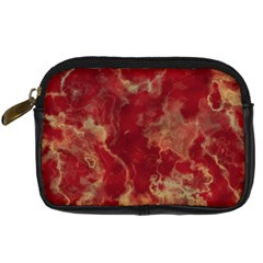 Marble Red Yellow Background Digital Camera Leather Case