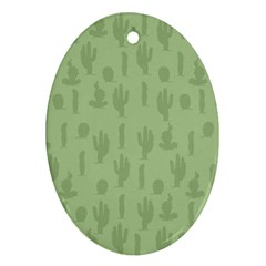 Cactus Pattern Oval Ornament (two Sides)
