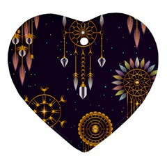 Background Non Seamless Pattern Heart Ornament (two Sides)