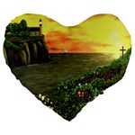 Eddie s Sunset Large 19  Premium Heart Shape Cushion