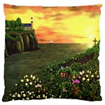 Eddie s Sunset Large Flano Cushion Case (One Side)