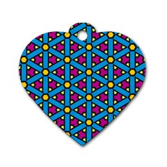 Lines Blue Seamless Dog Tag Heart (one Side)