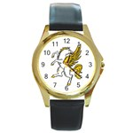Pegasus Round Gold Metal Watch
