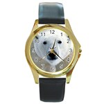 Fabulous Polar Bear Round Gold Metal Watch