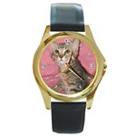 Adorable Kitten Round Gold Metal Watch