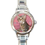 Adorable Kitten Round Italian Charm Watch