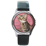Adorable Kitten Round Metal Watch