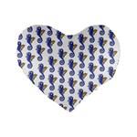Seahorses Housewares Standard 16  Premium Flano Heart Shape Cushion