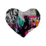Graffiti Grunge Standard 16  Premium Heart Shape Cushion