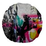 Graffiti Grunge Large 18  Premium Flano Round Cushion