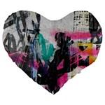 Graffiti Grunge Large 19  Premium Flano Heart Shape Cushion