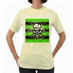 Deathrock Skull Women s Yellow T-Shirt
