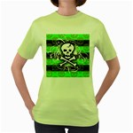Deathrock Skull Women s Green T-Shirt