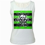 Deathrock Skull Women s White Tank Top
