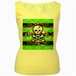 Deathrock Skull Women s Yellow Tank Top