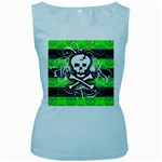 Deathrock Skull Women s Baby Blue Tank Top