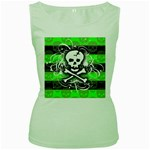 Deathrock Skull Women s Green Tank Top