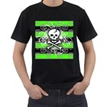 Deathrock Skull Men s T-Shirt (Black) (Two Sided)