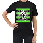 Deathrock Skull Women s T-Shirt (Black) (Two Sided)