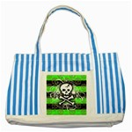 Deathrock Skull Striped Blue Tote Bag