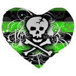 Deathrock Skull Large 19  Premium Heart Shape Cushion