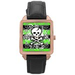 Deathrock Skull Rose Gold Leather Watch