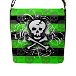 Deathrock Skull Flap Closure Messenger Bag (L)