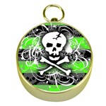 Deathrock Skull Gold Compass
