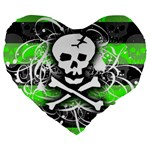 Deathrock Skull Large 19  Premium Flano Heart Shape Cushion