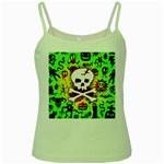 Deathrock Skull & Crossbones Green Spaghetti Tank